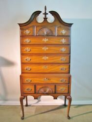 Beautifully Crafted Queen Anne Mahogany Highboy By Kindel Mint Condition