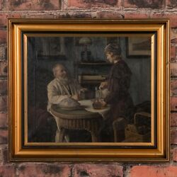 Antique Oil On Canvas Interior Scene Of Father And Daughter Signed Sophus Vermeh