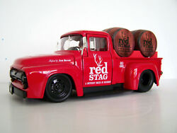 1956 Ford F100 Jim Beam Red Stag Graphics Red Diecast Pickup/truck +2 Barrels
