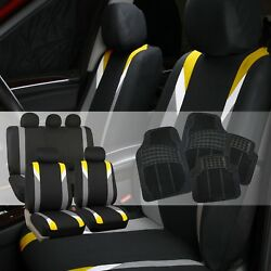 Premium Modernistic Yellow Black Auto Car Seat Covers With Rubber Floor Mats