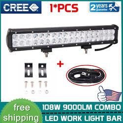 108w 17inch Led Work Light Bar Spot Flood Combo Offroad Suv Ford W/ Wiring Kit