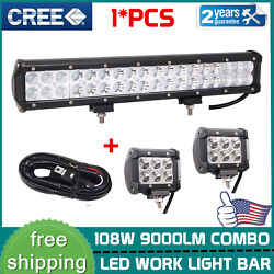 17inch 108w Led Work Light Bar Flood Spot Ford Offroad Car And 18w Work Light Kit