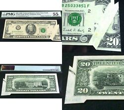 Error Banknote Major Gutter Fold. 1990 20 Frn With Piece Of Next Note Attached