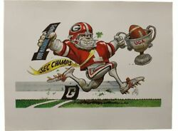 1980 SEC University of Georgia Bulldog Jack Davis Print RARE