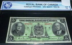 1943 Royal Bank 5. Canadian Chartered Banknote, Very Fine ++
