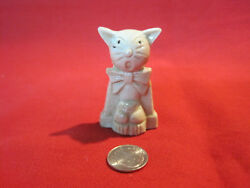 Cute whimsical porcelain bisque glazed cat figurine marked Japan