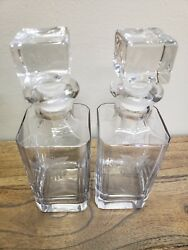 Vintage Etched Heisey West Point Square Glass Decanters Set Of 2 Crest 9031