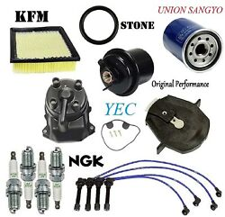 Tune Up Kit Fuel Air Oil Filter Cap Wire Spark Plugs Fit Honda Civic 1996-2000