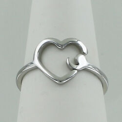 Semicolon Heart Ring - Stainless Steel Outline Mental Illness Support Hope New