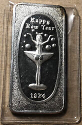 1974 Happy New Year Great Lakes Mint 1 Ounce .999 Silver Art Bar Nude