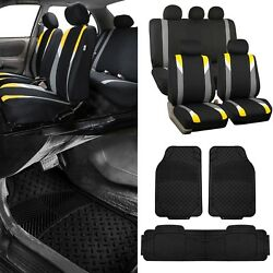 Modernistic Yellow Black Auto Car Seat Covers W/black Trimmable Vinyl Floor Mats