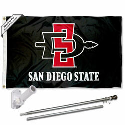 San Diego State Aztecs Black Flag Pole And Bracket Gift Package