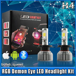 H4 9003 High Low Beam LED Headlight Kit with RGB Demon Eyes APP Control 2 in 1