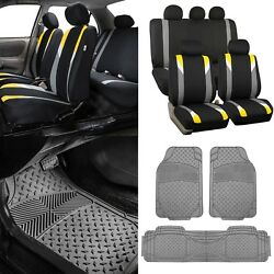 Modernistic Yellow Black Auto Car Seat Covers W/gray Trimmable Vinyl Floor Mats