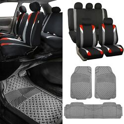 Modernistic Red Black Auto Car Seat Covers W/gray Trimmable Vinyl Floor Mats