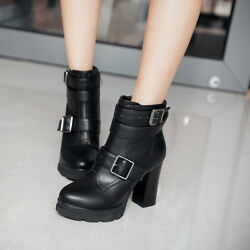 Magic Women Block High Heels Buckle Strap Side Zip Ankle Boots Punk Riding Shoes