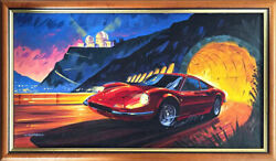 """""""fire In The Sky"""" Ferrari 246 Dino Coupe Acrylic Painting On Canvas By Joe Lawre"""