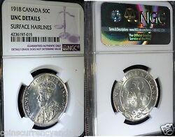 1918 Canada, Newfoundland 50 Fifty Cents , Ngc Certified Uncirculated Details