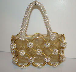 1960s Faux Pearl-encrusted Mod Clear Plastic Handbag With Brass Rings