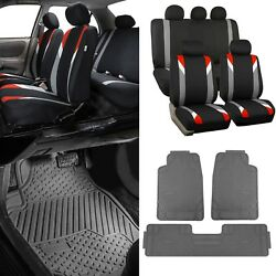 Red/black Car Seat Covers W/ 3 Piece Heavy Duty Rubber All Weather Floors Mats