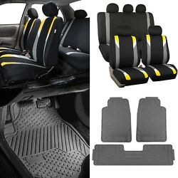 Yellow/black Car Seat Covers W/3 Piece Heavy Duty Rubber All Weather Floors Mats