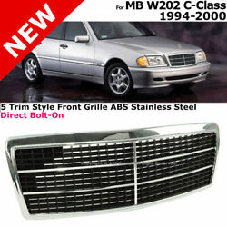 For 94-00 Mb W202 C-class 5 Trim Style Front Bumper Upper Radiator Grille Black