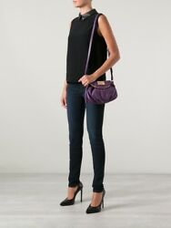 MARC BY MARC JACOBS Classic Q Natasha Small Purple Leather Crossbody Swing Bag