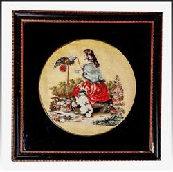 Antique English Victorian Needlepoint Queen Victoria And Pets Petitpoint Framed