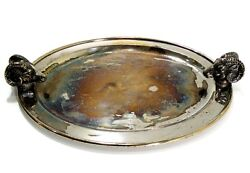 Very Rare Italy Dual Rams Head Stirrup Cup Silver Plated Oval Serving Tray