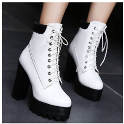 Womens Non-slip Ankle Boots Lace Up Round Toe Block High Heel Shoes Magic