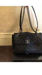 CHANEL Lady Pearly Navy Caviar Leather Flap Bag