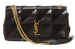Yves Saint Laurent Black Leather and Suede Patchwork Jamie Bag
