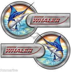 Two Boston Whaler Laminated Remastered Sticker Set 16x9 Each. Must Be Cut Out