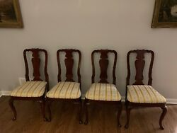 Kindel Set of 4 Mahogany Queen Anne 76-072 Side Chairs (Oxford Finish)