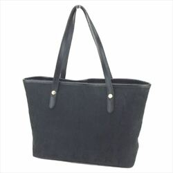 Bvlgari Tote bag Logo Mania Black Canvas Leather Woman Authentic Used T8924