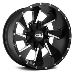Cali Offroad 9106 DISTORTED Wheels 20x9 (18 5x139.7 110) Black Rims Set of 4