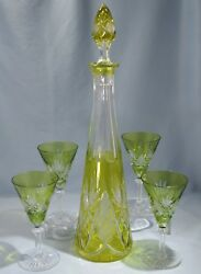Val St Lambert Light Green Cut To Clear Crystal Wine Fluted Glasses And Decanter