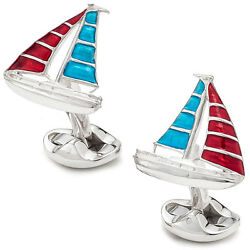 Deakin And Francis Men's Yacht Cufflinks, Red And Blue