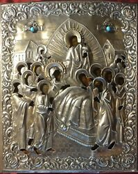 Antique 18c Hand Painted 84 Silver Oklad Russian Icon Dormition Mother Of God