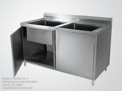 30x60 Stainless Steel Cabinet With 2 Sink Bowls