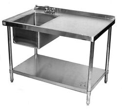 24x84 Stainless Steel Work Table With Prep Sink On Left
