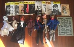 7 Vintage Wooden Puppet Punch And Judy Lot 19pcs Total Playbills 1905