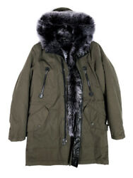 Jakewood Men's Winter Olive Green Trench Coat With Toscana Fur Trimming Size L