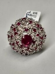14k White Gold Natural Ruby And Diamond Cluster Ring