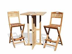 Windsorand039s 3pc Genuine Grade A Teak Folding Counter Set 27 Sq Table And 2 Chairs