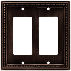 Brainerd 64403 Beaded Double Decorator Wall Plate  Switch Plate  Cover Bronze