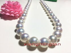 Australia Top 1712-15mm Real South Sea Perfect Round White Pearl Necklace 14k