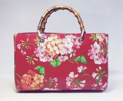 GUCCI GG Blooms Hand Shoulder Bamboo Bag Floral Red Woman Japan Limited New Rare