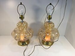 2 Vintage Lamps Lighted Top amp; Bottom Glass Floral Design
