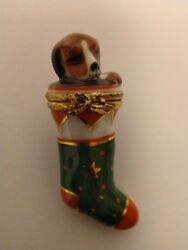 Artoria Limoges Trinket Box Puppy In A Christmas Stocking